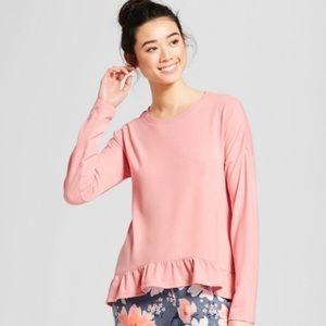 Tops - NWOT blush pink ruffle drop shoulder sleep top L